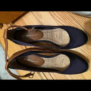 Bcbg navy wedge with ankle strap